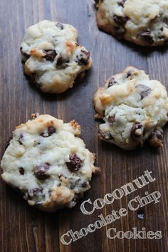 Coconut Chocolate Chip Cookies are the perfect cookie! The combination of coconut and chocolate chips is mouthwateringly good and they are easy to bake! Cookie Recipes For Kids, Oatmeal Cookie Recipes, Cookie Desserts, Dessert Recipes, Drink Recipes, Chocolate Chip Cookies Ingredients, Coconut Chocolate Chip Cookies, Sugar Cookies Recipe, Chocolate Chips