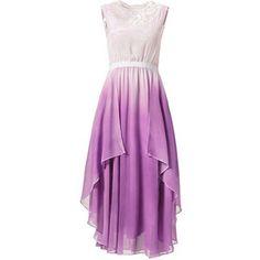 Purple Ombre Lace Paneled Irregular Maxi Dress