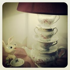 miss lamparita tazzine servizio da tè lampada love luce light vintage mood