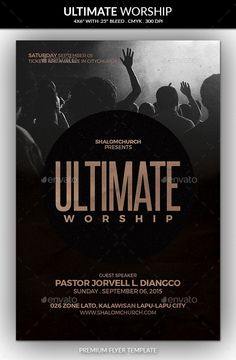 Buy Ultimate Worship Church Flyer by kaaroger on GraphicRiver. This flyer is suitable for a christian worship. Details Flyer's size is with bleeds, CMYK Layers are. Church Graphic Design, Church Design, Graphic Design Posters, Poster Designs, Creative Poster Design, Creative Posters, Concert Flyer, Flyer Design Inspiration, Cool Business Cards