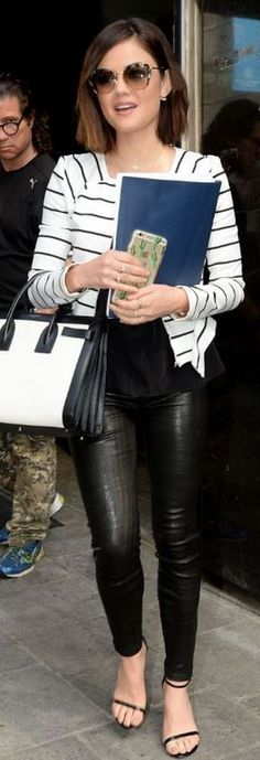 Who made Lucy Hale's black leather skinny jeans, sunglasses, sandals, and white tote handbag?