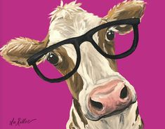 Whimsical Cow Canvas Art Print, Funny cow art, cow with sunglasses. Colorful Cow decor from original cow on canvas painting by HippieHoundUSA on Etsy
