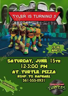 Ninja Turtles Party Invitations Template New Teenage Mutant Ninja Turtles Invita. Ninja Turtles Party Invitations Template New Teenage Mutant Ninja Turtles Invitation by Partytimepr Turtle Birthday Parties, Ninja Turtle Birthday, Ninja Turtle Party, Ninja Party, Birthday Ideas, 5th Birthday, Printable Birthday Invitations, Party Invitations, Printable Party