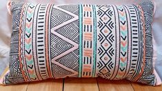 Mint and Coral Faux Linen Embroidered Chevron Oblong Decor Pillow 12 in X 20 in Decoration, Decorative Pillows, Chevron, Coral, Mint, Throw Pillows, Decor, Decorative Throw Pillows, Toss Pillows
