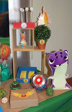 Fun decorations at a Slugterra boy birthday party! See more party planning ideas at CatchMyParty.com!