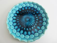 "Plate. ""Saphir"" series (white clay, turquoise blue glaze). Hand built earthenware ceramics by Saskia Lauth / Pottery Studio SL - Art + Design / France. www.saskia-lauth.com"
