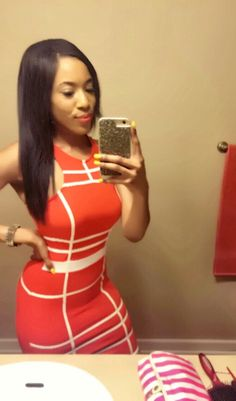 White and orange bodycon dress -@TheeBrookieD