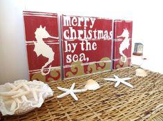 Nautical Christmas Beach Sign Merry Christmas By The Sea Coastal Christmas Decor, Southern Christmas, Nautical Christmas, Beach Christmas, Christmas Tree Decorations, Christmas Holidays, Christmas Crafts, Merry Christmas, Tropical Christmas