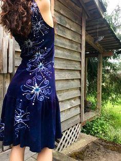 Purple Stars In The Summer Night Batikwalla Dress in Organic Cotton