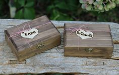Rustic Bridesmaid Gift Box, Flower Girl Gift Box, Favor Box, Keepsake Box, Personalized And Stained With A Pink JuteTie. $30.99, via Etsy.