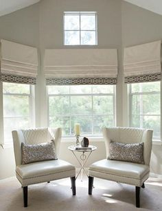 To Find Roman Shades Living Room Farmhouse Online 73 Faux Roman Shades, Custom Roman Shades, Store Bateau, Home Decoracion, Window Coverings, Bay Window Treatments, Window Treatments Living Room, My Living Room, Interiores Design