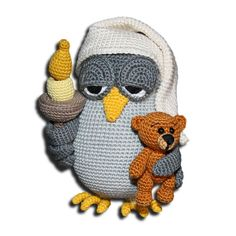 Nightowl pattern by Zhaya Designs - Amigurumi Owl Crochet Patterns, Crochet Birds, Owl Patterns, Baby Knitting Patterns, Amigurumi Patterns, Crochet Animals, Crochet Baby, Free Crochet, Amigurumi Tutorial