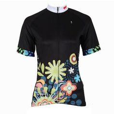 Ilpaladino Chrysanthemum patterned Women s Summer Short-Sleeve Cycling  Jersey Biking Shirts Breathable Sport Black Clothes 350d57b97