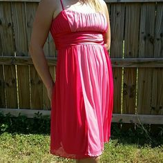 Pink dress 2 tone pink dress. Spaghetti straps with satin tie in back. Very pretty dress City Triangles Dresses