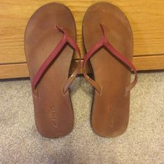 Clarks Flip Flops Size 8.5 Clarks Leather Flip-Flops Size 8.5. Maroon and Tan. Super cute, Well-loved but have a lot of life left!! Clarks Shoes Sandals