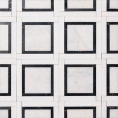 Glacier, Black, Snow White Multi Finish Cambridge Marble Mosaics 12 7/8x12 7/8 - Marble System Inc.