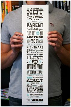 A parents promise by Joel Felix a freelance designer from Northern California specialized on typography an its composition. He creates own typefaces and has a very sharp eye for types fitting together a you can see on this poster.