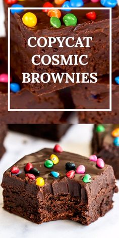 Copycat Cosmic Brownies are ultra rich, fudgy, and chewy just like the kind you buy at the store from Little Debbie but oh so much better with no preservatives! The BEST easy from-scratch homemade recipe made with cocoa powder, no box mix here. Yummy Treats, Delicious Desserts, Sweet Treats, Yummy Food, Easy Desserts, Brownie Recipes, Cookie Recipes, Dessert Recipes, Best Brownie Recipe
