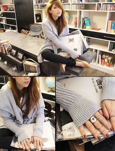 Oversized Cardigan In Grey, Full Length Leggings In High Waist, Chloé Flats In Nude, An Chus Finger Rings In Pack
