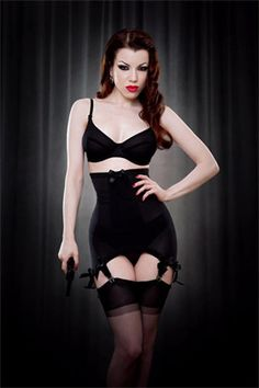 long line black girdle