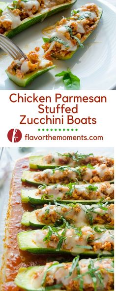 Chicken Parmesan Stuffed Zucchini Boats are a low carb, high protein meal. They're the healthier way to enjoy the flavors of chicken parmesan! @FlavortheMoment