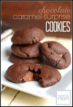 """This Chocolate Caramel Cake Cookies Recipe combines the yumminess of chocolate and caramel in to an irresistible cookie. Plus it only has five ingredients and is easy enough that the kiddos can make it BY THEMSELVES. Did I also mention it is a """"ringer""""....like no one will be able to resist eating one or five?"""