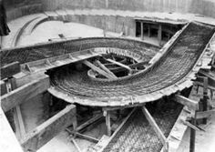 Under Construction. Concrete reinforcing clearly visible. Penguin Pool, London Zoo, Regent's Park, 1933-1934.