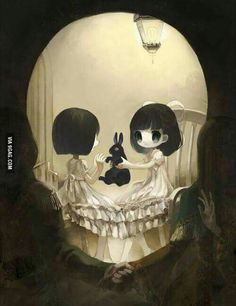 Skull made by two girls, their bunny and a couple in the front... it' so…