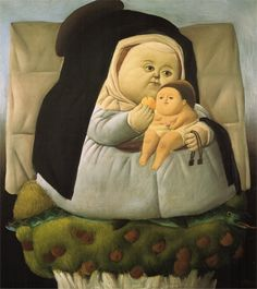 Madonna with Child by Fernando Botero (1965)