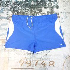 d992283387eb0 NIKE Swim Trunks Shorts Men's Size Large Blue White Lined Pockets Vintage  #Nike #Trunks