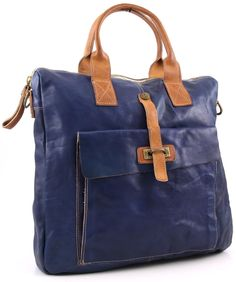 Campomaggi Lavaggio Stone Tote Leather blue 40 cm - C1225VLCU-2421 | Designer Brands :: wardow.com