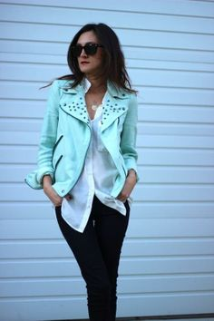 Mint Green Leather.