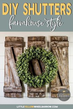 A DIY home decor project that is perfect for a beginner woodworker. These farmhouse style decorative shutters only require a few simple materials and come together quickly. Come check out this project on the blog! #easydiyprojects #walldecor #woodworking
