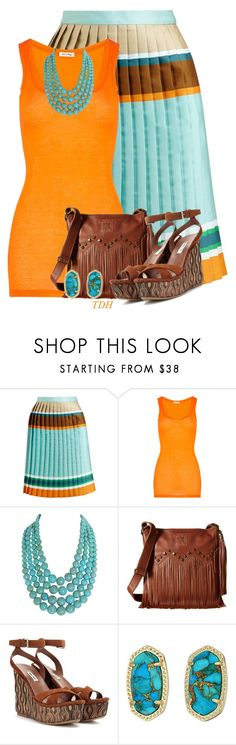 """Striped Pleated Skirt"" by talvadh ❤ liked on Polyvore featuring Ostwald Helgason, American Vintage, Humble Chic, STS Ranchwear, Miu Miu and Kendra Scott"