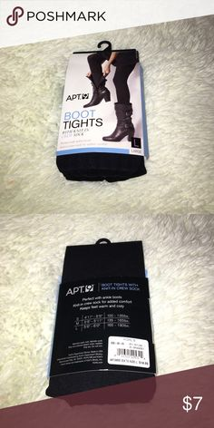 Apt. 9 boot tights with knit-in crew socks NWT!!! Black opaque tights with built in knit socks. Perfect for wearing with boots!!! Super comfortable, knit pet short enough to wear with ankle boots! Size large- see measurements on picture two Apt. 9 Accessories Hosiery & Socks