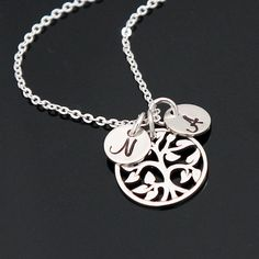 ON SALE Family Tree Initial Necklace, Tree of Life Necklace, Personalized Mother's Necklace, 1 up to 8 Initials, Sterling Silver. Initial Fonts, Tree Of Life Necklace, Personalized Charms, Birthstone Charms, Initial Necklace, Necklace Lengths, Custom Jewelry, Hand Stamped, Initials