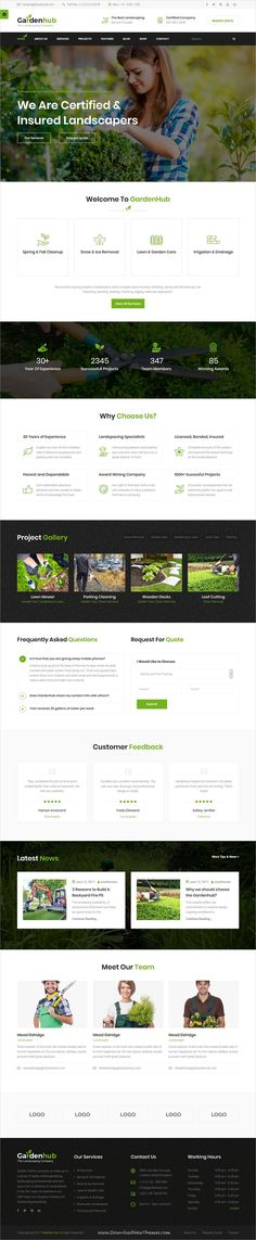 Garden HUB is clean and modern design 4in1 responsive #bootstrap HTML template for #gardener, #landscaping and lawn services website to live preview & download click on Visit