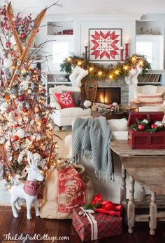 Creative Christmas decorating ideas for decking your halls. From trees to mantels to tables to gift wrap ... tons of unique ways to deck the halls.