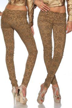Edle Stretchhose mit Ornament-Flockprint! Mit dieser Hose erntet die Trägerin garantiert zahlreiche Komplimente. Eine dezente Hose...