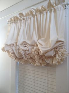 Double Ruffle Unbleached Muslin Balloon Curtain Valance