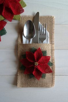 Burlap Utensil / Silverware Holder with Poinsettia Flower / Christmas Holiday…