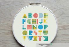 modern cross stitch pattern alphabet, geometric, PDF pattern ** instant download**
