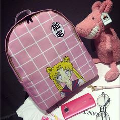 Kawaii Online Store Backpacks on The Demon's Chest.Anime Sailor Moon Canvas Backpacks Cute Plaid Schoolbags Dc89 get yourself ready to look cute .