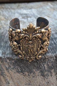 Baroque Brass Cherub Metal Cuff
