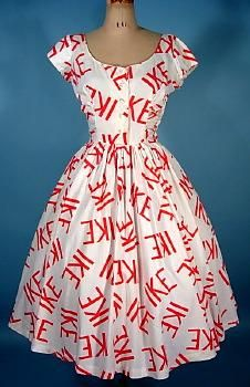 """RARE c. 1956 """"I LIKE IKE"""" Ike Dress of Printed Cotton! Presidential Campaign Dress by JERRY GILDEN SPECTATOR"""