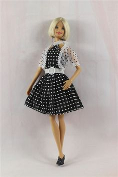 3in1+Fashion+Polka+Dot+Dress+Shoes+Outfit+Skirt+Clothes+FOR+Barbie+Doll++#Unbranded