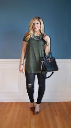 Outfitted411: Olive & Black...distressed denim, leopard print heels, black satchel, fashion