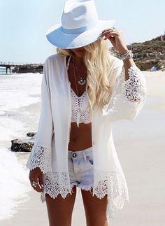 2018 Beach Chiffon cover up skirt blouse bathing sexy top slim Loose white Lace beach dress Cardigan tunic pareo saida de praia All White Outfit, White Outfits, Lace Outfit, Kimono Outfit, Chiffon Cover Up, Look Con Short, Chiffon Kimono, Lace Chiffon, Boho Kimono