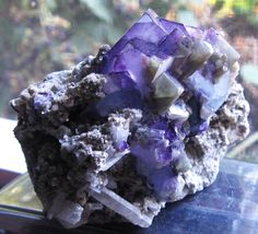 Flourite Crystal Cluster Quartz Blue White Green Purple on Silver Mica Material
