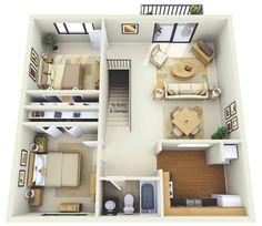 plantas de casas com 2 quartos com cozinha americana 3d 6
